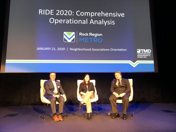 Photo of METRO Executive Director Charles Frazier, TMD Project Manager Melissa Sather and TMD Deputy Project Manager and Senior Planner Andrew Pease.